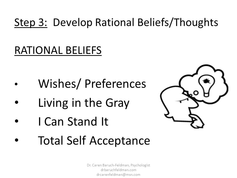 Step 3: Develop Rational Beliefs/Thoughts RATIONAL BELIEFS Wishes/ Preferences Living in the Gray I Can Stand It Total Self Acceptance Dr. Caren Baruc