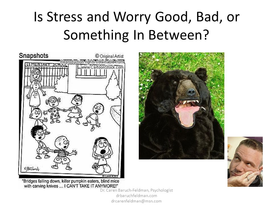Is Stress and Worry Good, Bad, or Something In Between? Dr. Caren Baruch-Feldman, Psychologist drbaruchfeldman.com drcarenfeldman@msn.com