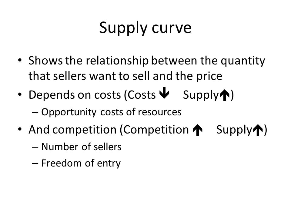 Demand curve Shows the relationship between the quantity that buyers want to buy and the price Depends on – Budgets (Budgets  Demand  ) Opportunity cost of the good to the buyer – Preferences, wants, needs (Wants  Demand  ) – Alternatives and their prices (Alternatives  Demand  ) Cross-price elasticities – Competition (Competition  Demand  ) Number of buyers