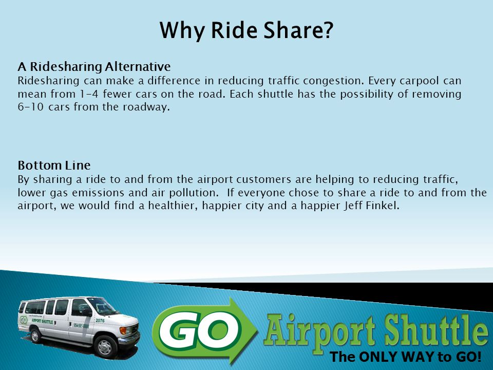 The ONLY WAY to GO! Green How Green is your airport? Airport Round Trip Taxi Passengers