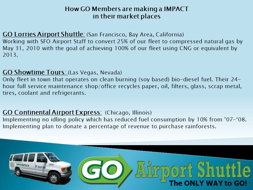 The ONLY WAY to GO! Green How Green is your airport? Airport Share-Ride Shuttle Passenger