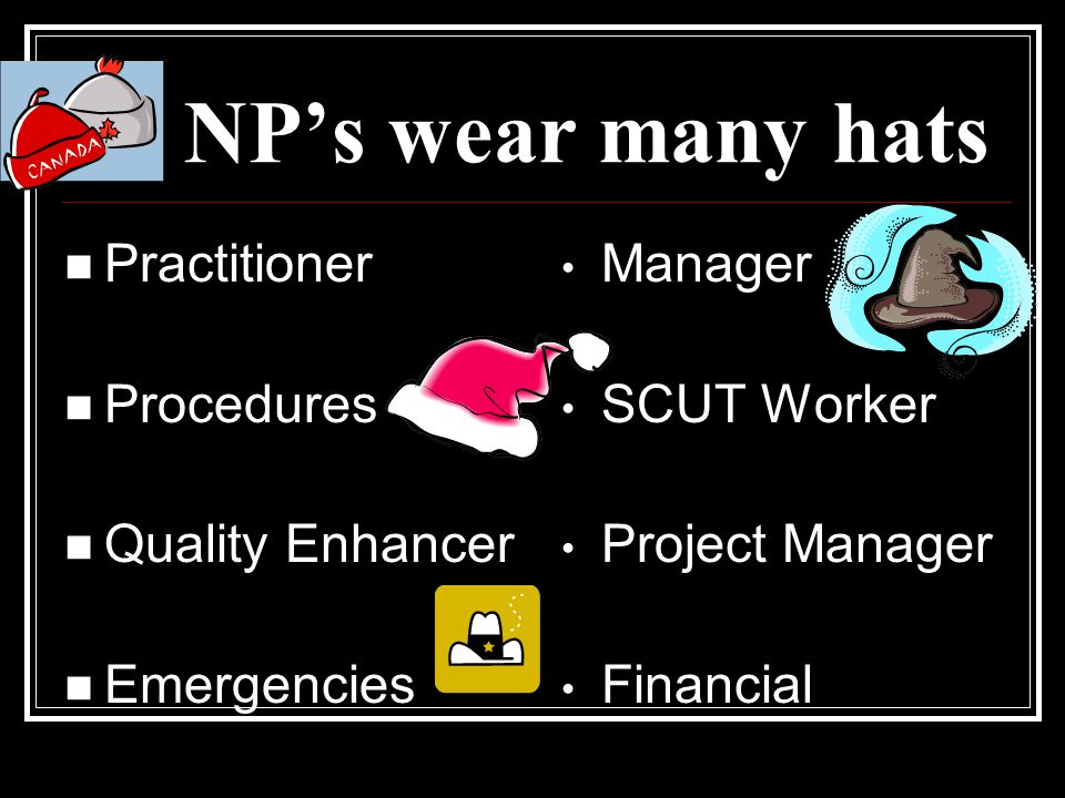 NP's wear many hats Practitioner Procedures Quality Enhancer Emergencies Manager SCUT Worker Project Manager Financial