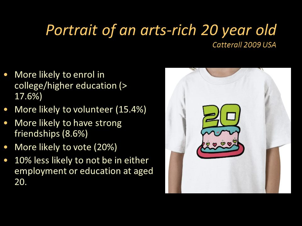 Portrait of an arts-rich 20 year old Catterall 2009 USA More likely to enrol in college/higher education (> 17.6%) More likely to volunteer (15.4%) More likely to have strong friendships (8.6%) More likely to vote (20%) 10% less likely to not be in either employment or education at aged 20.