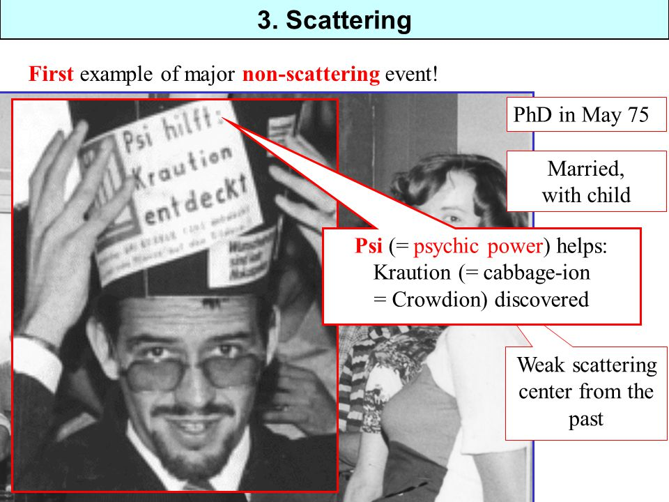 3. Scattering PhD in May 75 Married, with child Weak scattering center from the past First example of major non-scattering event! Psi (= psychic power