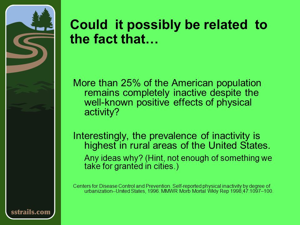 Could it possibly be related to the fact that… More than 25% of the American population remains completely inactive despite the well-known positive effects of physical activity.