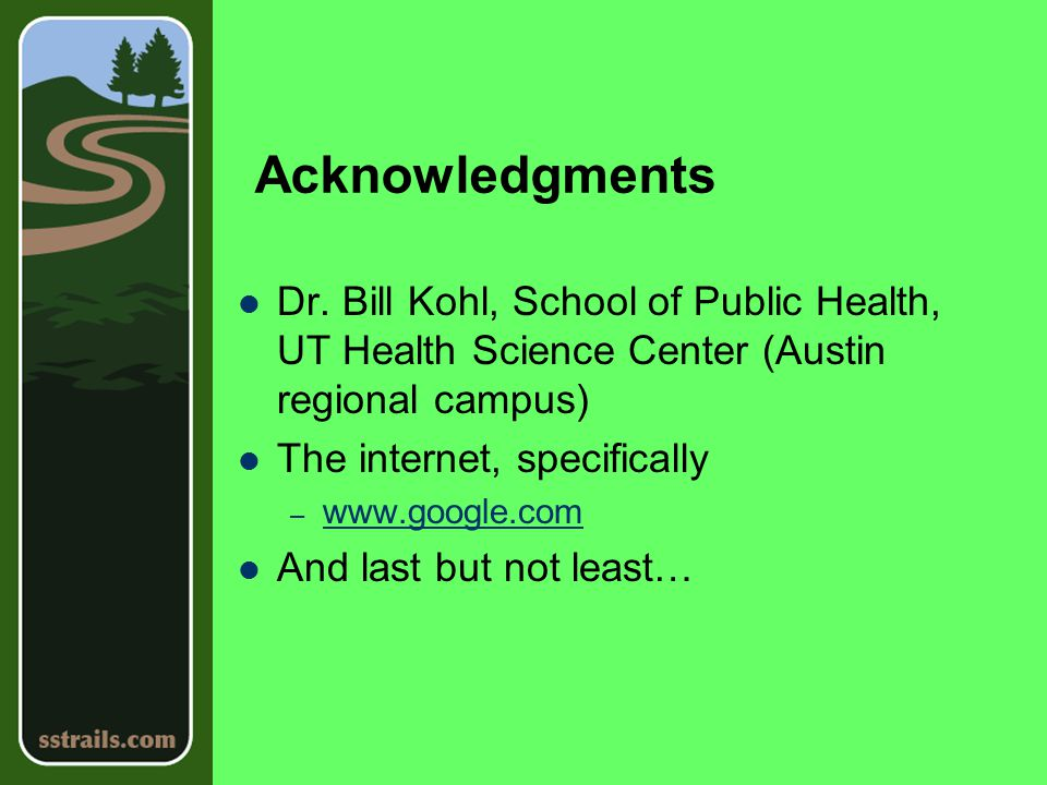 Acknowledgments Dr.