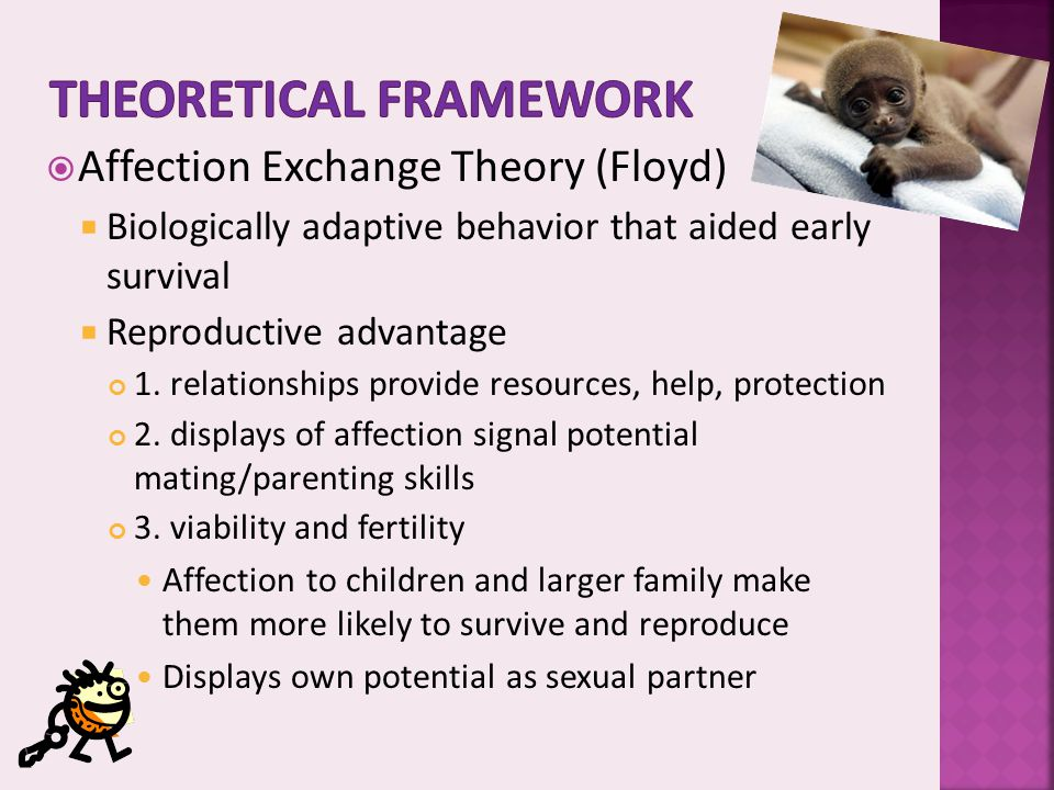  Affection Exchange Theory (Floyd)  Biologically adaptive behavior that aided early survival  Reproductive advantage 1. relationships provide resou