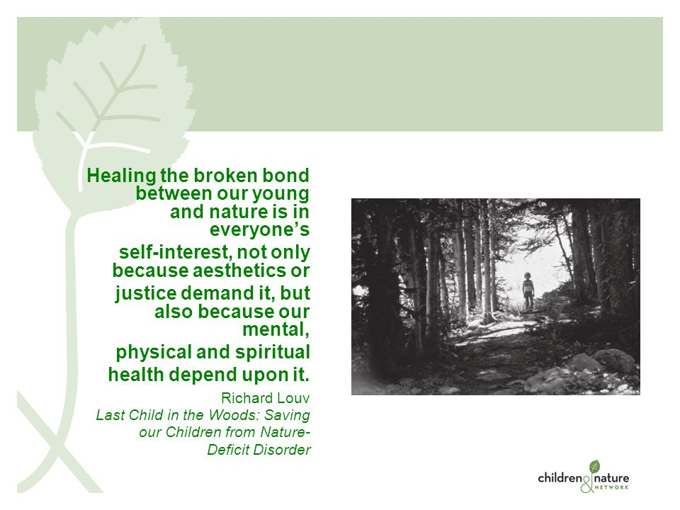 © 2008 Healing the broken bond between our young and nature is in everyone's self-interest, not only because aesthetics or justice demand it, but also because our mental, physical and spiritual health depend upon it.