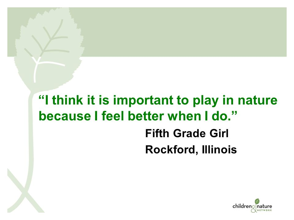 © 2008 I think it is important to play in nature because I feel better when I do. Fifth Grade Girl Rockford, Illinois
