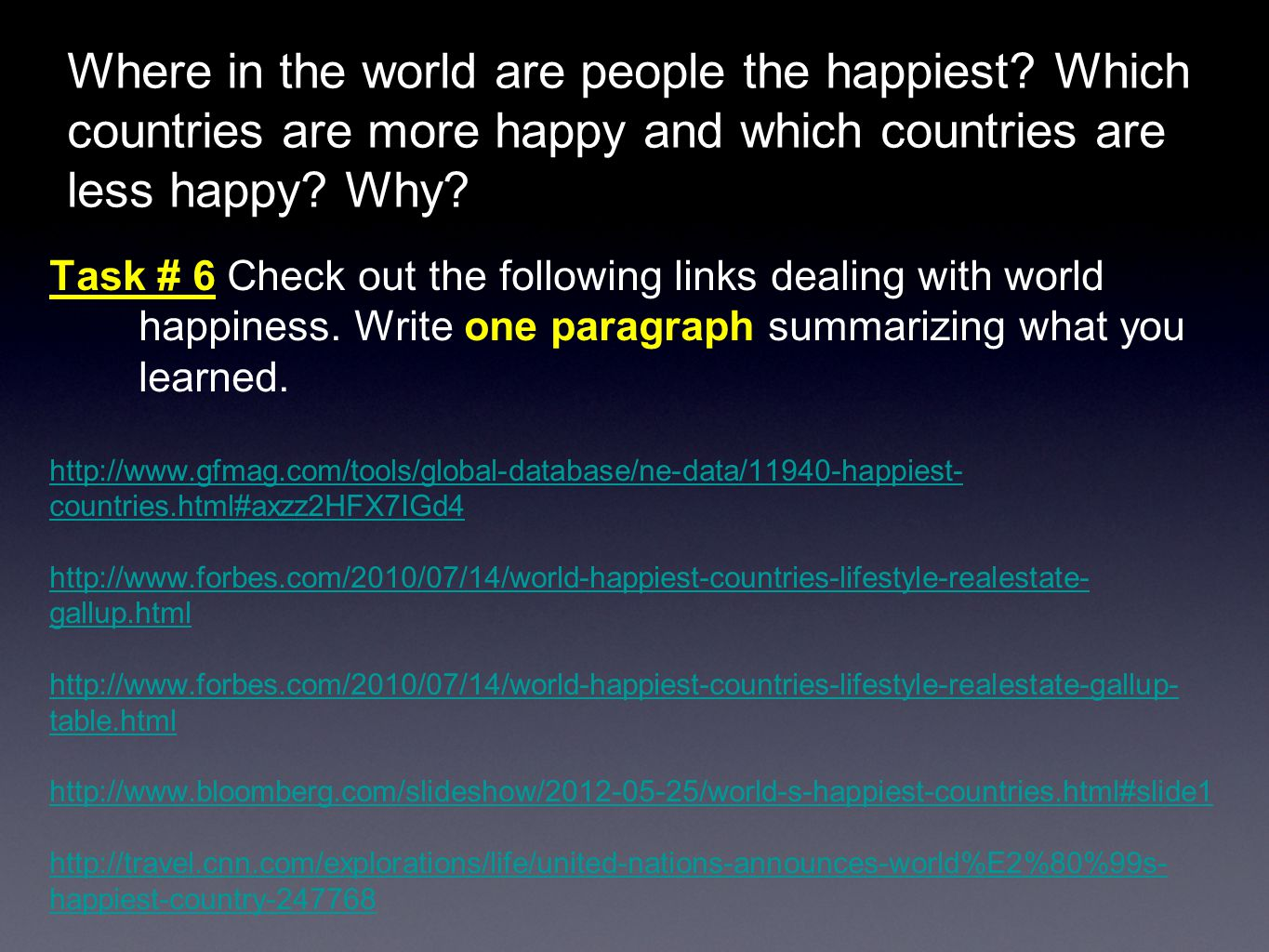 Where in the world are people the happiest.