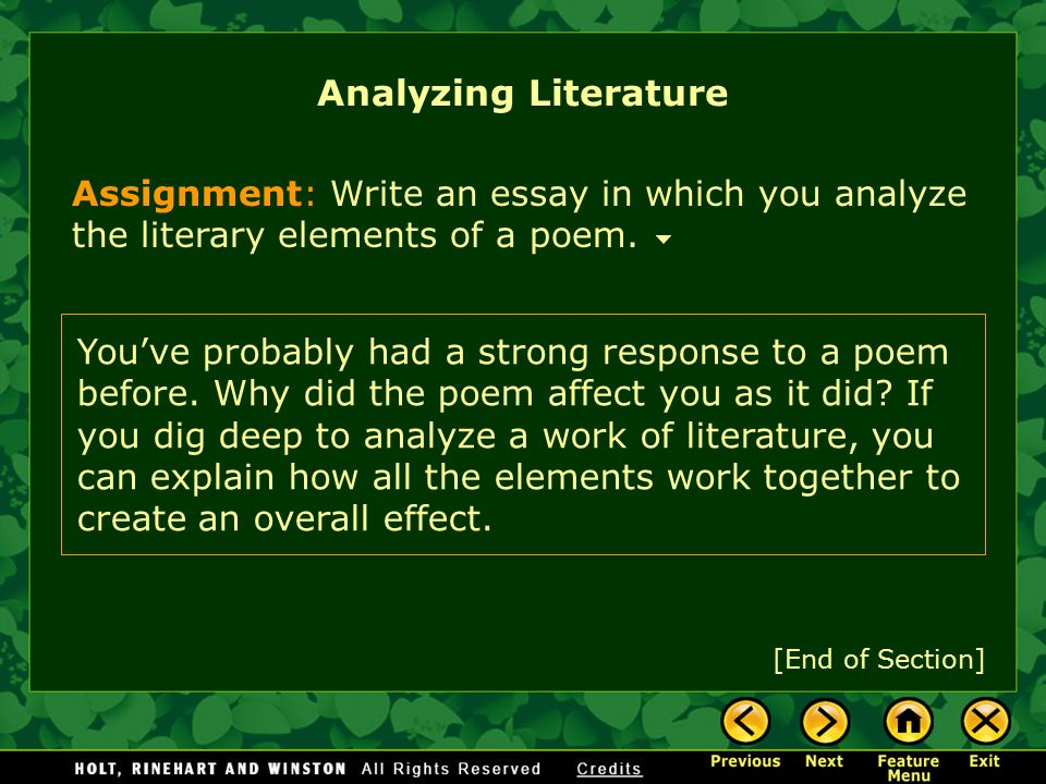 Writing Workshop Analyzing Literature Assignment Prewriting Choose and Analyze a Poem State Your Thesis and Gather Support Practice and Apply Feature Menu