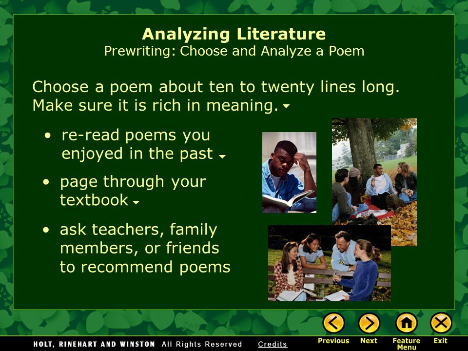 Assignment: Write an essay in which you analyze the literary elements of a poem.