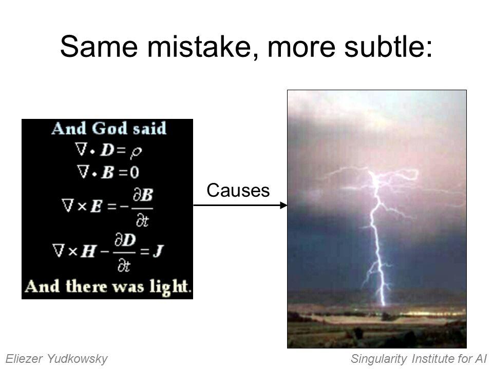 Same mistake, more subtle: Causes Eliezer YudkowskySingularity Institute for AI