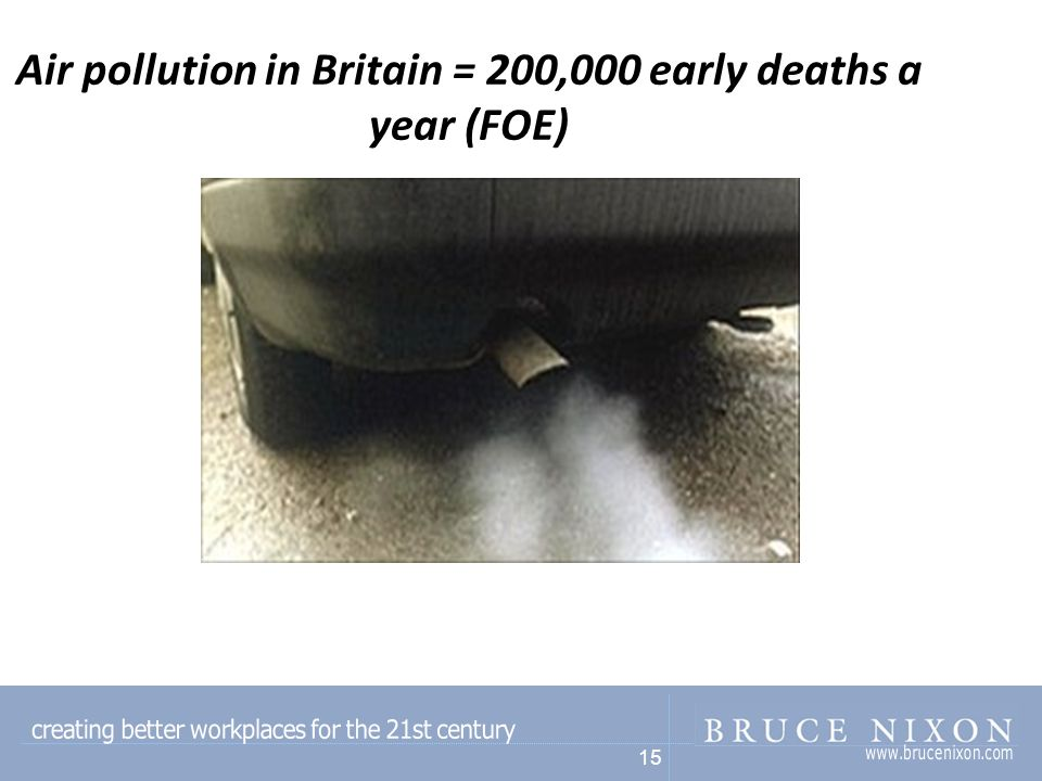15 Air pollution in Britain = 200,000 early deaths a year (FOE)