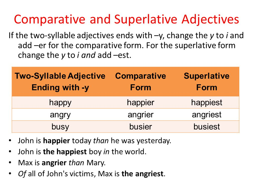 If the two-syllable adjectives ends with –y, change the y to i and add –er for the comparative form.