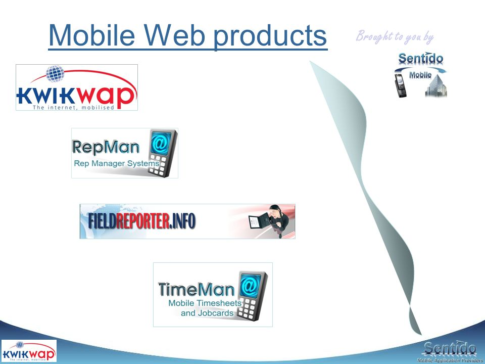 Background Sentido started in 2004 as a web software development company (surveys) Soon started venturing into mobile applications (100% web based) Some of our clients / projects: