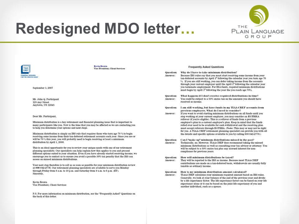 Redesigned MDO letter…
