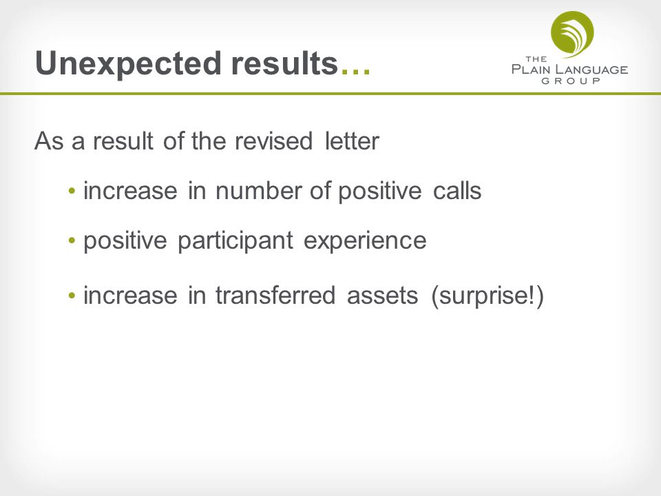 Unexpected results… As a result of the revised letter increase in number of positive calls positive participant experience increase in transferred assets(surprise!)