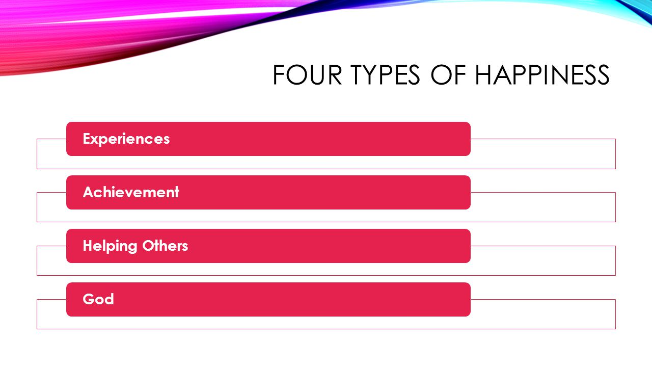 FOUR TYPES OF HAPPINESS ExperiencesAchievementHelping OthersGod