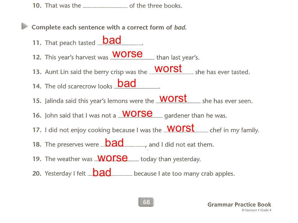 bad worse worst bad worst worse worst bad worse bad