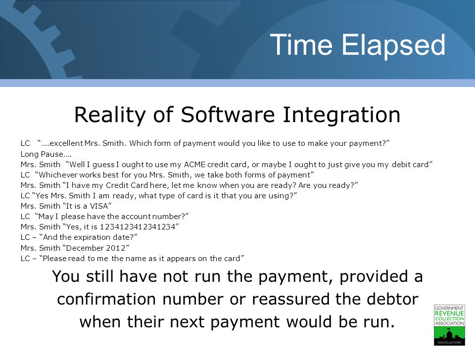 Time Elapsed Reality of Software Integration LC ….excellent Mrs.
