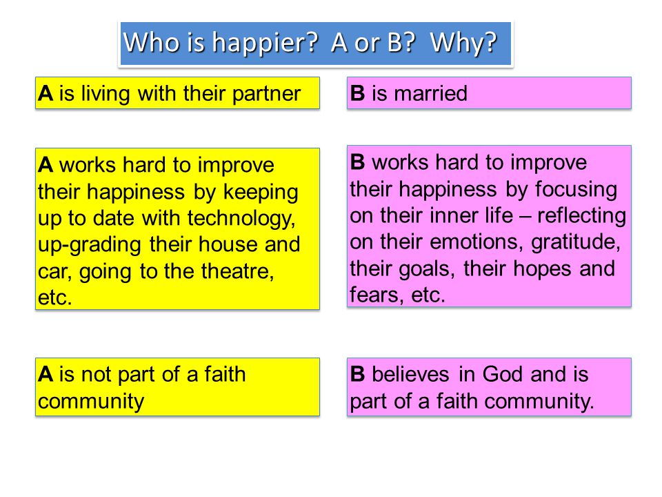 Who is happier. A or B. Why.