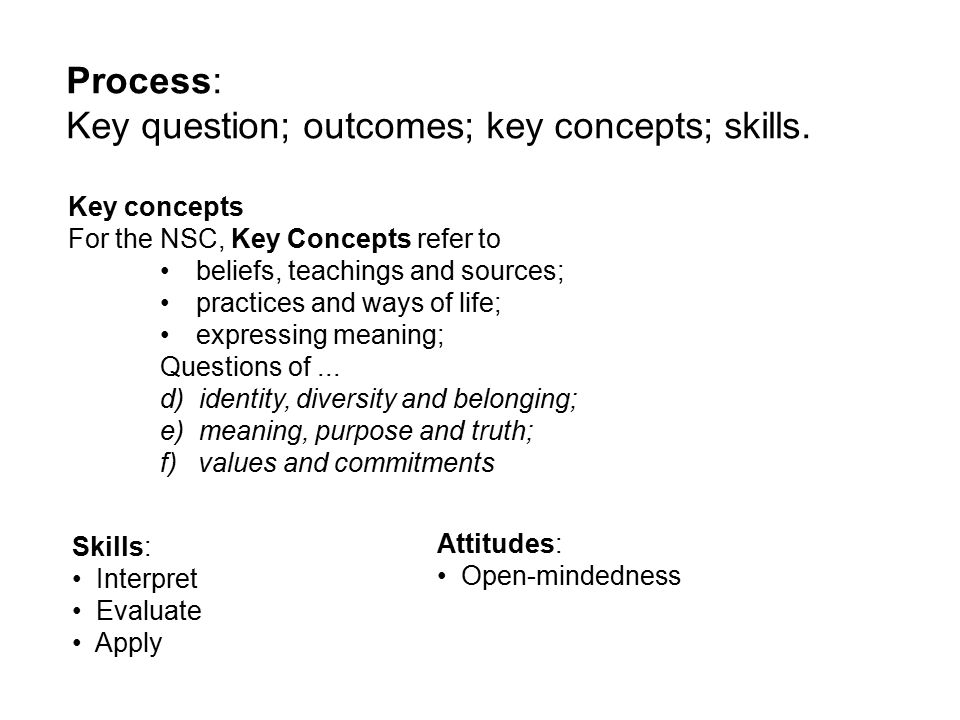 Key concepts For the NSC, Key Concepts refer to beliefs, teachings and sources; practices and ways of life; expressing meaning; Questions of...