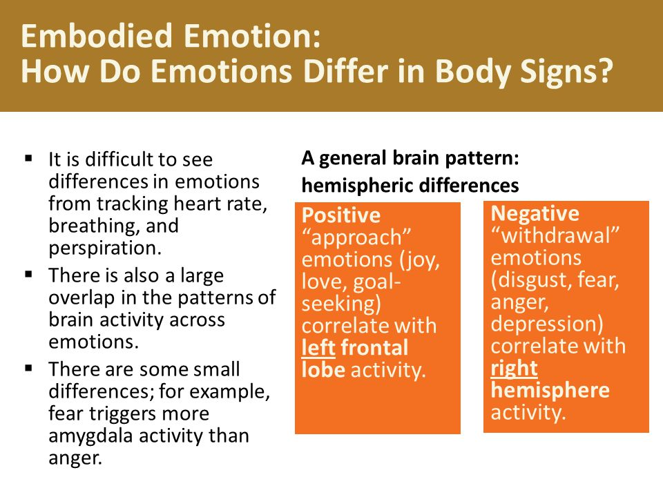 Physiological Differences Physical responses, like finger temperature and movement of facial muscles, change during fear, rage, and joy.