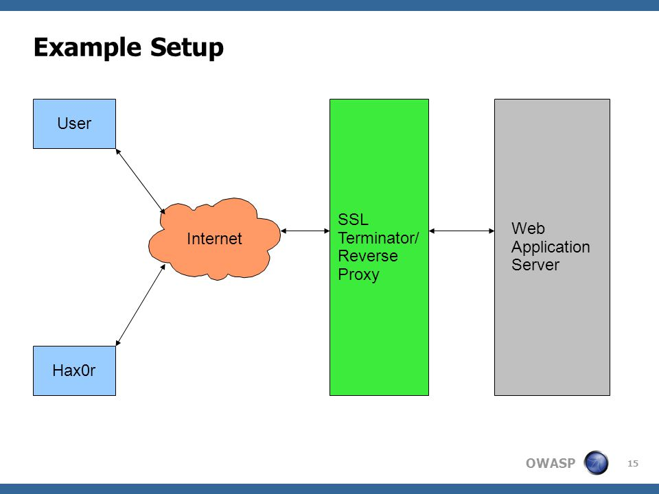 OWASP 15 Example Setup User Hax0r Internet SSL Terminator/ Reverse Proxy Web Application Server