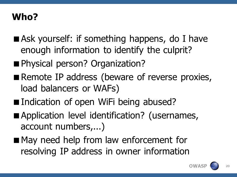 OWASP 20 Who.