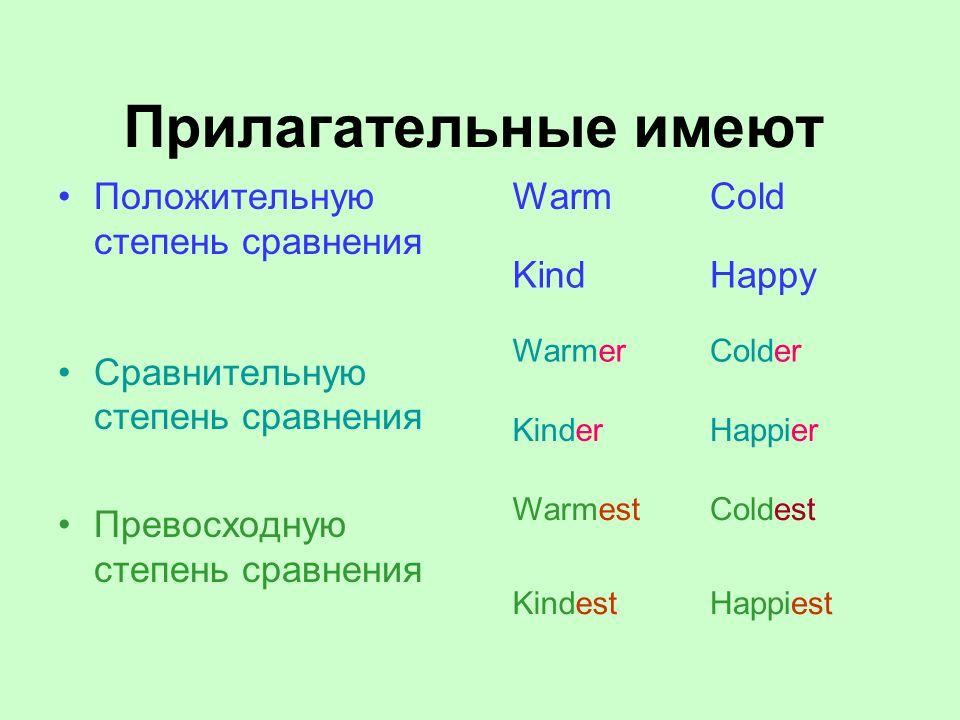 Прилагательные имеют Положительную степень сравнения Сравнительную степень сравнения Превосходную степень сравнения WarmCold KindHappy WarmerColder KinderHappier WarmestColdest KindestHappiest
