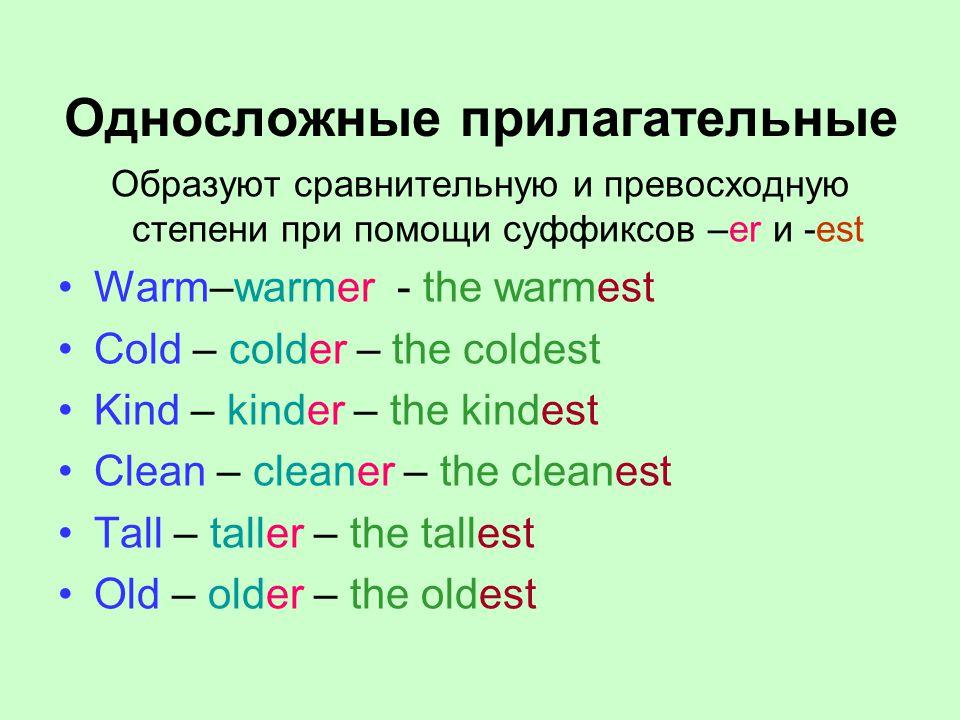 Односложные прилагательные Образуют сравнительную и превосходную степени при помощи суффиксов –er и -est Warm–warmer - the warmest Cold – colder – the coldest Kind – kinder – the kindest Clean – cleaner – the cleanest Tall – taller – the tallest Old – older – the oldest
