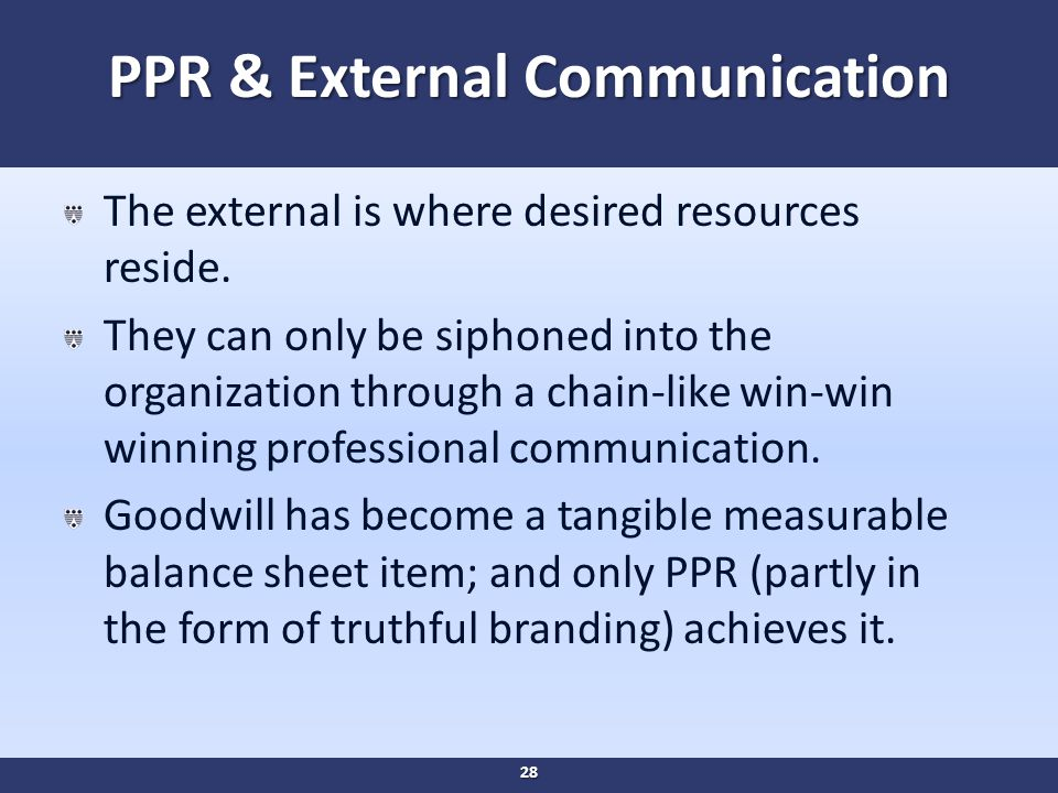 PPR & External Communication The external is where desired resources reside.