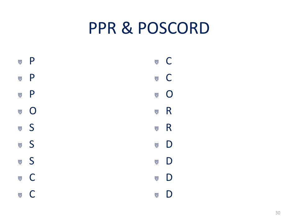 PPR & POSCORD PPPOSSSCCPPPOSSSCC CCORRDDDDCCORRDDDD 30