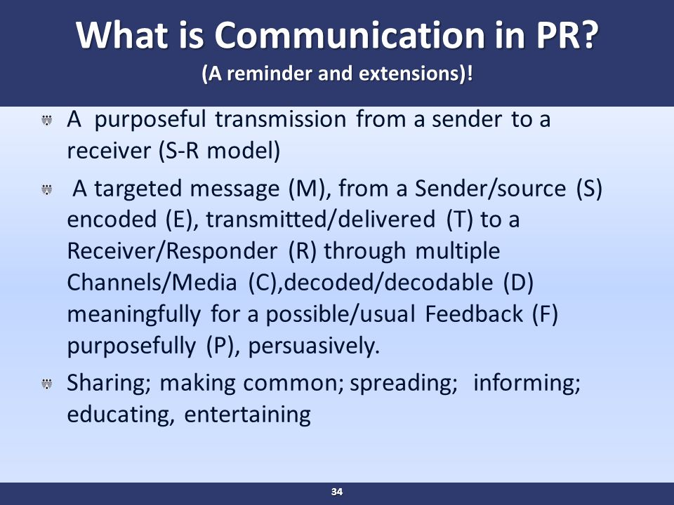 What is Communication in PR. (A reminder and extensions).