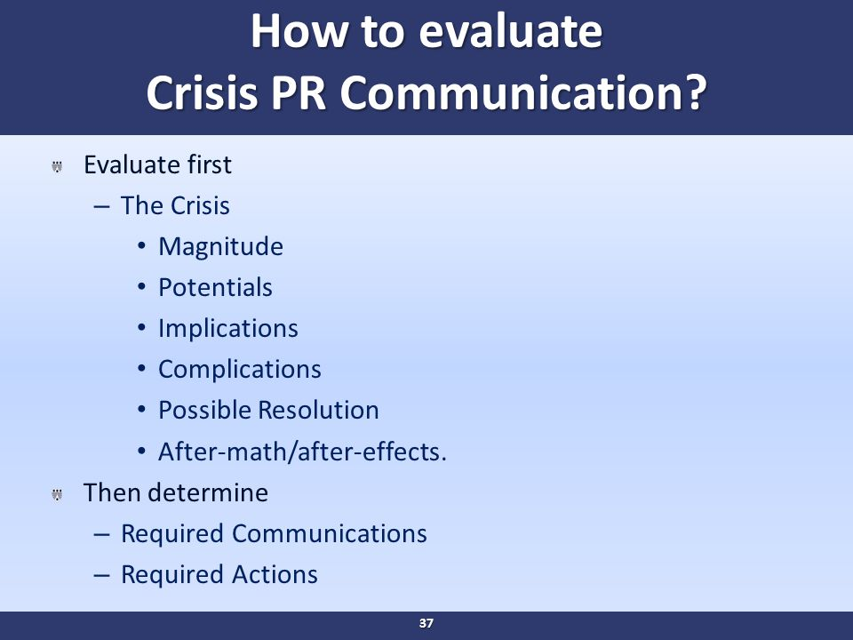 How to evaluate Crisis PR Communication.