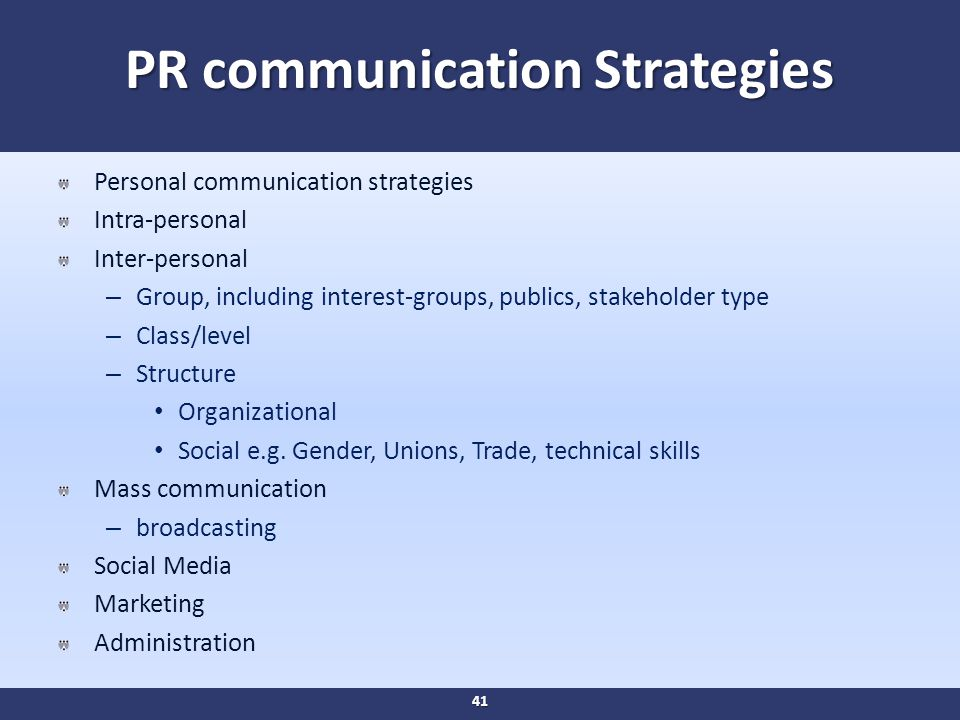 PR communication Strategies Personal communication strategies Intra-personal Inter-personal – Group, including interest-groups, publics, stakeholder type – Class/level – Structure Organizational Social e.g.