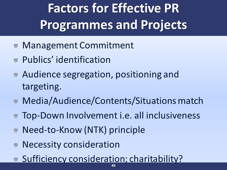 Factors for Effective PR Programmes and Projects Management Commitment Publics' identification Audience segregation, positioning and targeting.