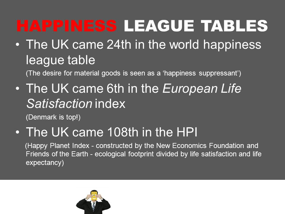 HAPPINESS LEAGUE TABLES The UK came 24th in the world happiness league table (The desire for material goods is seen as a 'happiness suppressant') The