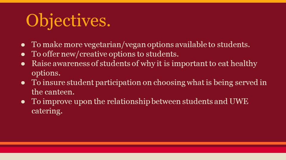 Objectives. ● To make more vegetarian/vegan options available to students. ● To offer new/creative options to students. ● Raise awareness of students