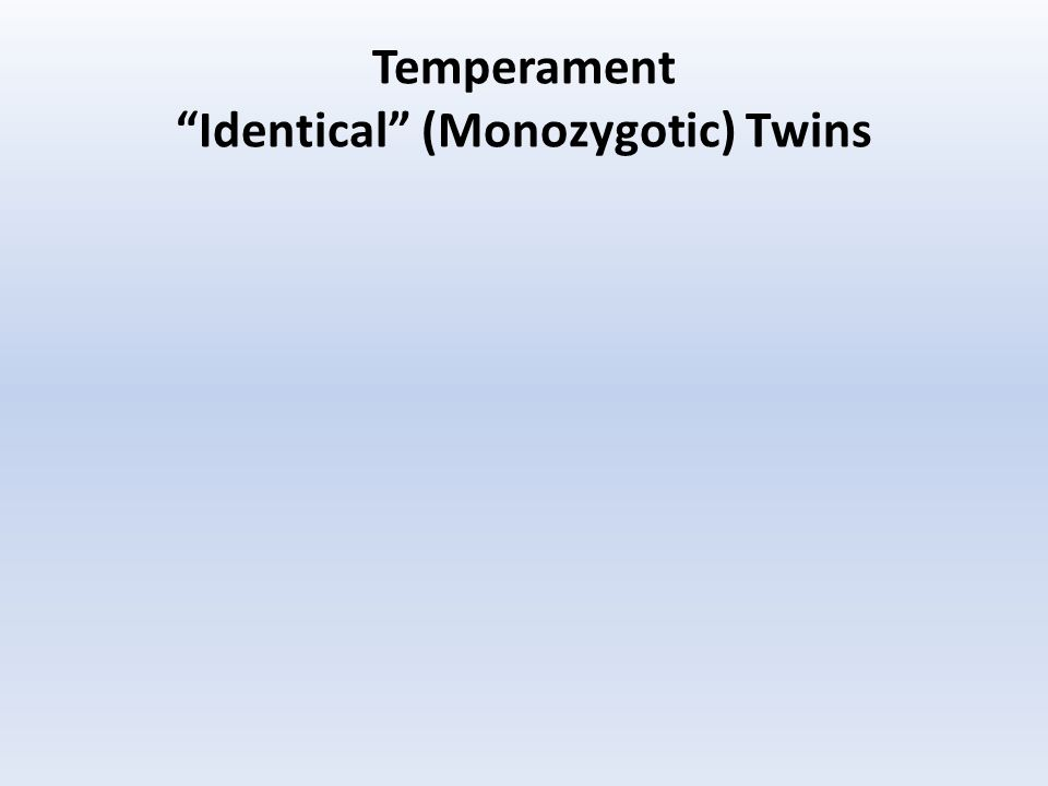 Temperament Identical (Monozygotic) Twins
