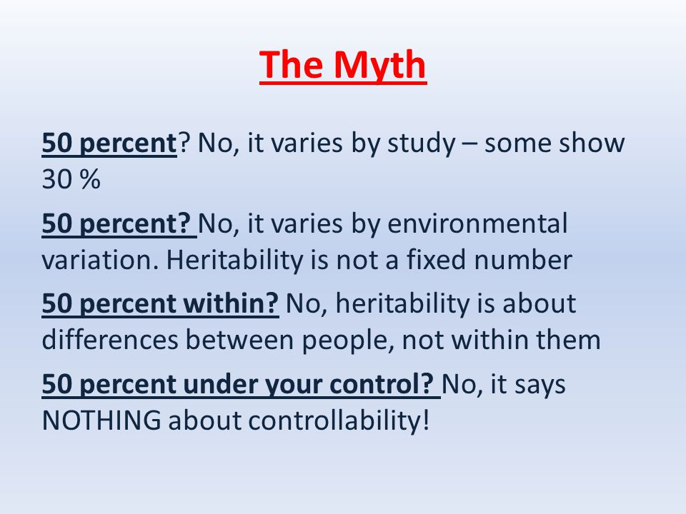 The Myth 50 percent. No, it varies by study – some show 30 % 50 percent.