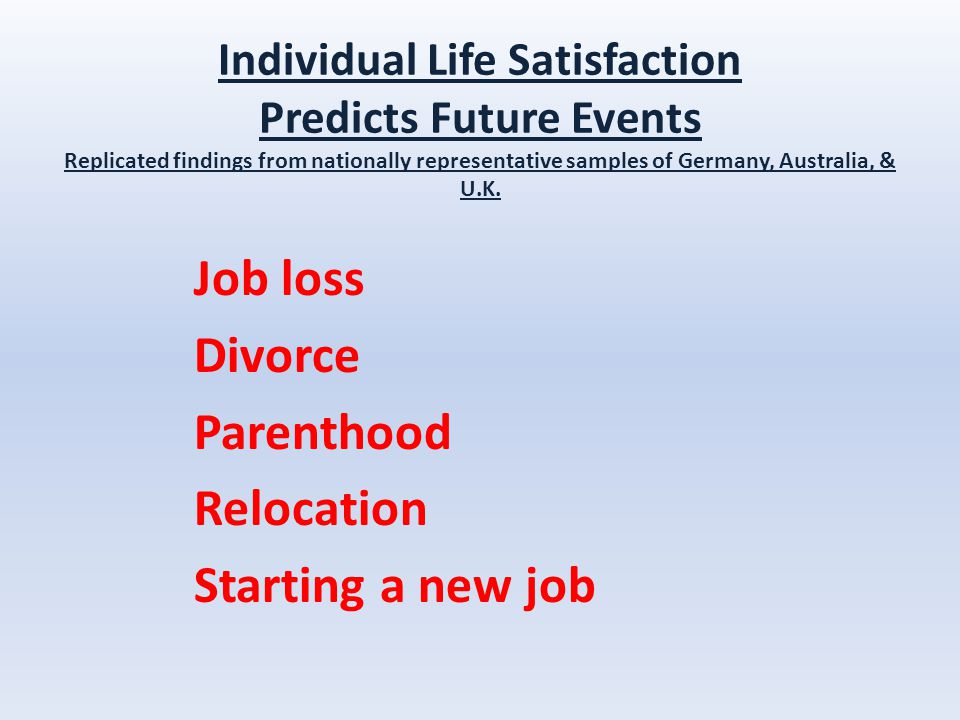 Individual Life Satisfaction Predicts Future Events Replicated findings from nationally representative samples of Germany, Australia, & U.K.