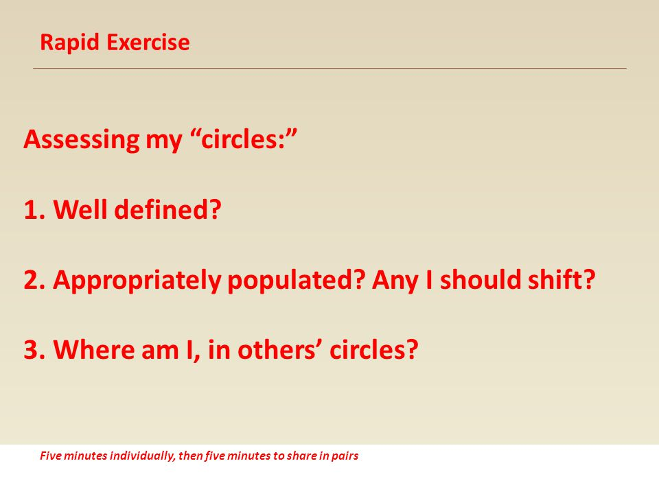 Rapid Exercise Assessing my circles: 1. Well defined.