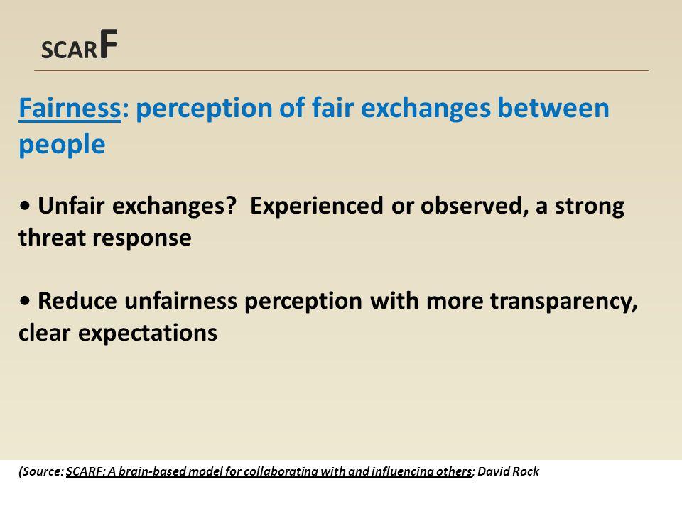 SCAR F Fairness: perception of fair exchanges between people Unfair exchanges.