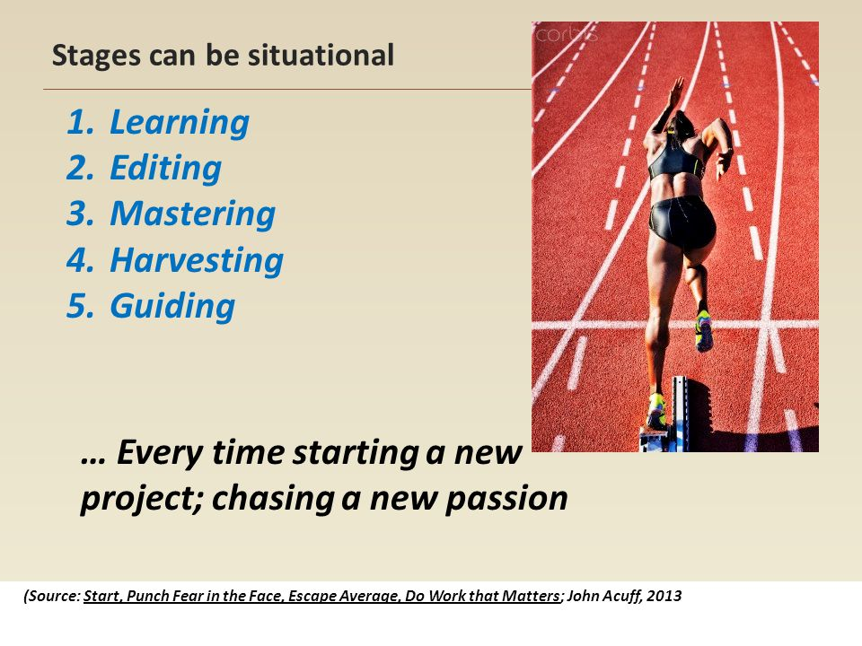 Stages can be situational 1.Learning 2.Editing 3.Mastering 4.Harvesting 5.Guiding (Source: Start, Punch Fear in the Face, Escape Average, Do Work that Matters; John Acuff, 2013 … Every time starting a new project; chasing a new passion