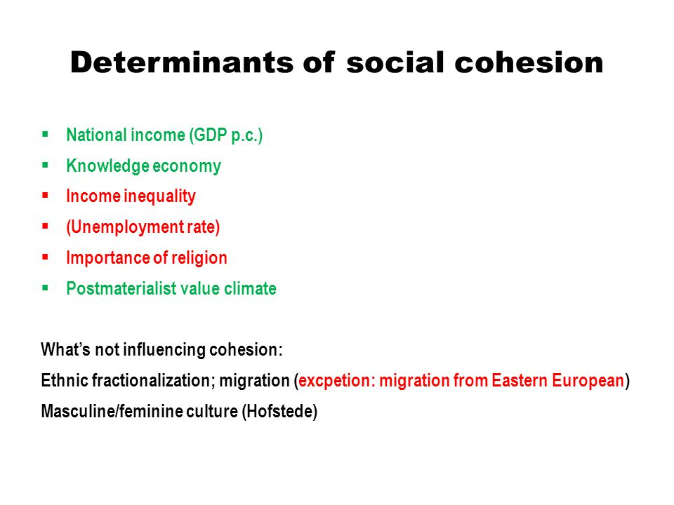 Determinants of social cohesion  National income (GDP p.c.)  Knowledge economy  Income inequality  (Unemployment rate)  Importance of religion 