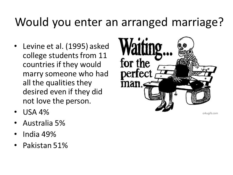 Would you enter an arranged marriage? Levine et al. (1995) asked college students from 11 countries if they would marry someone who had all the qualit