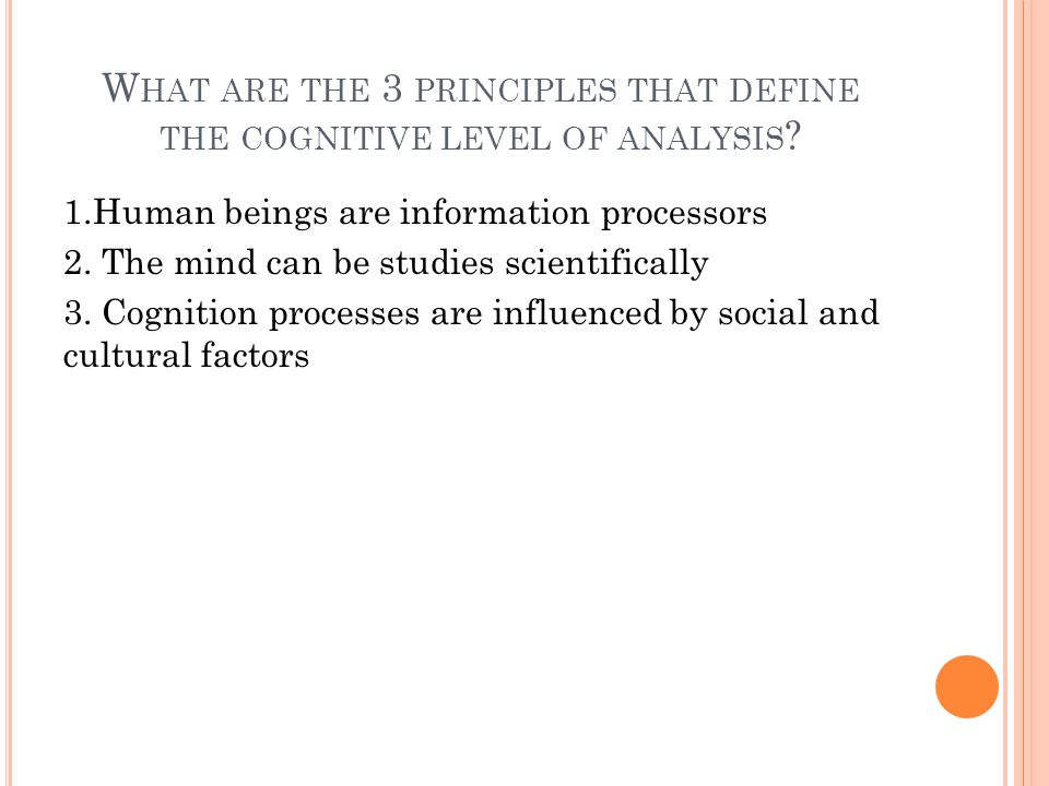 W HAT ARE THE 3 PRINCIPLES THAT DEFINE THE COGNITIVE LEVEL OF ANALYSIS .