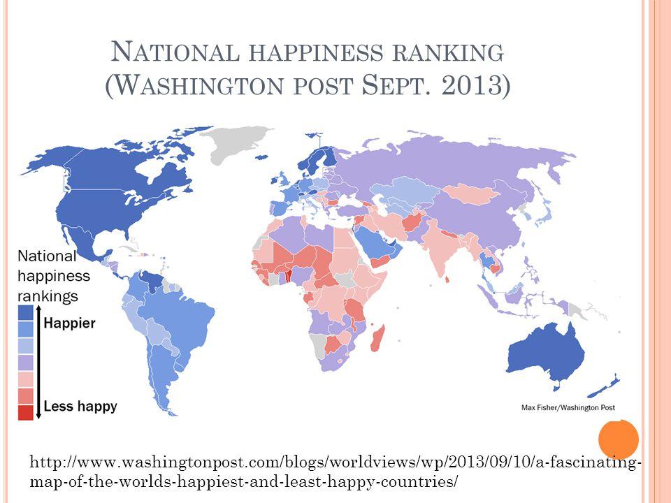 N ATIONAL HAPPINESS RANKING (W ASHINGTON POST S EPT.
